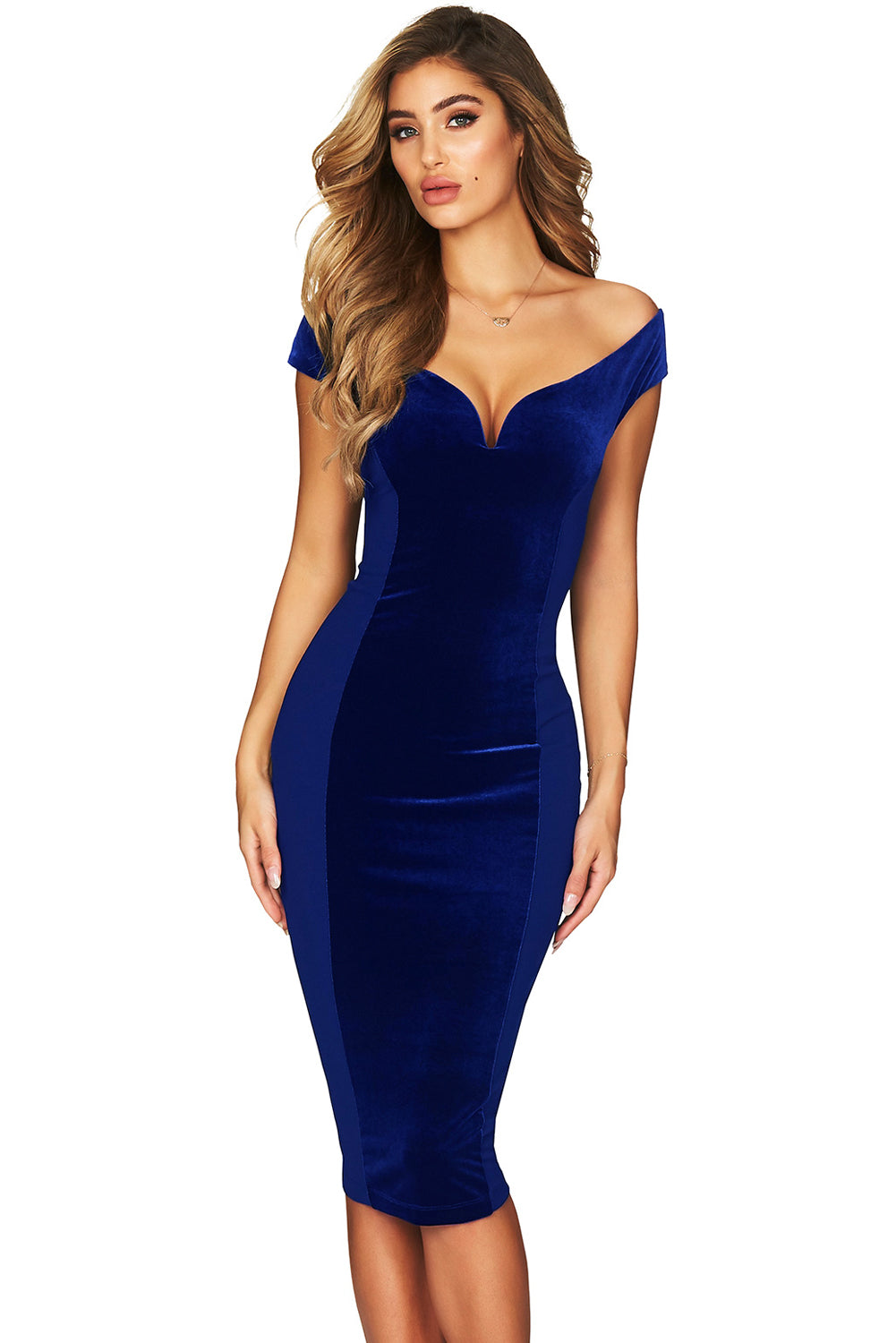 Show Hourglass Figure Navy Off Shoulder Dress