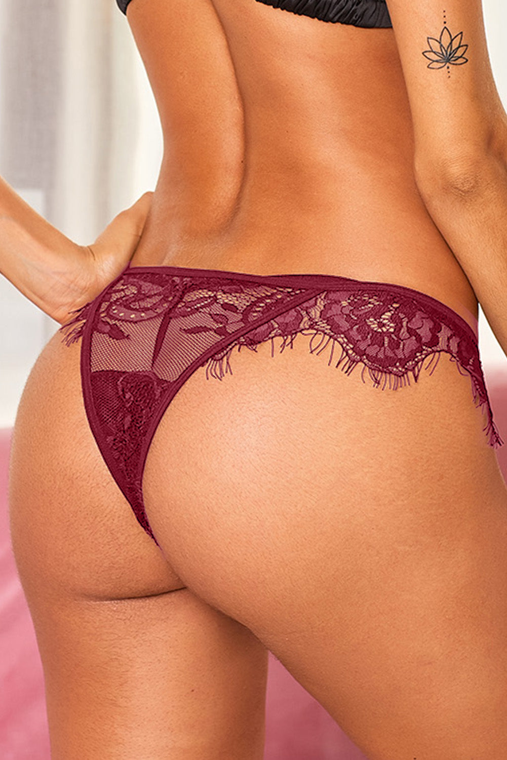 Red Eyelash Trim Lace Mesh Thong