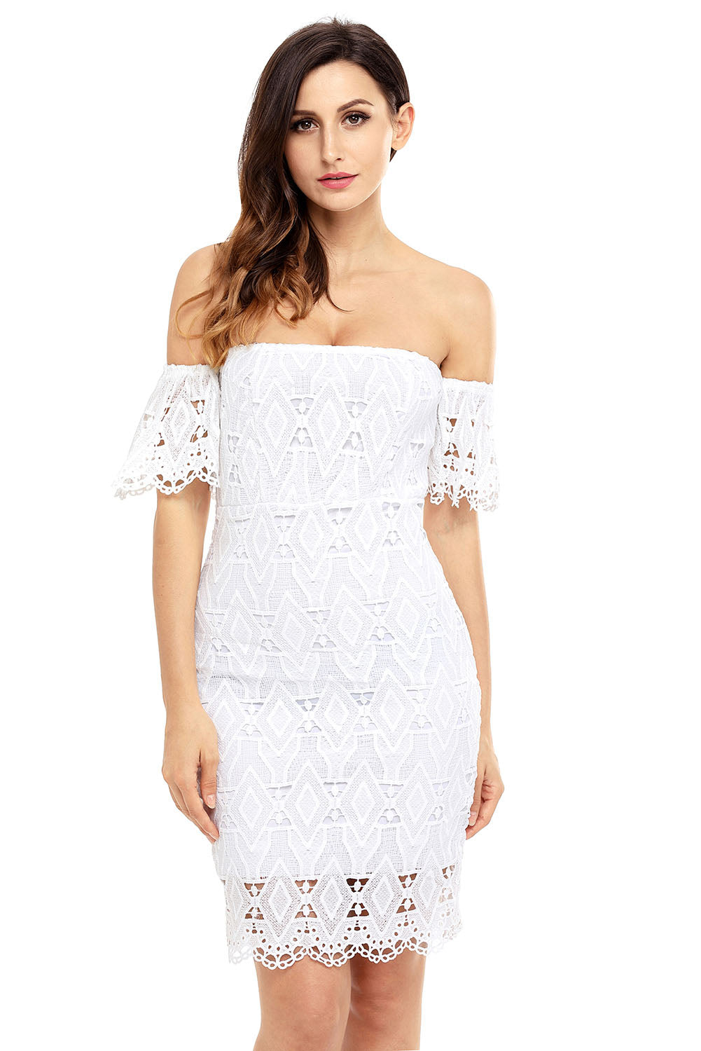 White Short Sleeve Off Shoulder Diamond Lace Bodycon Dress