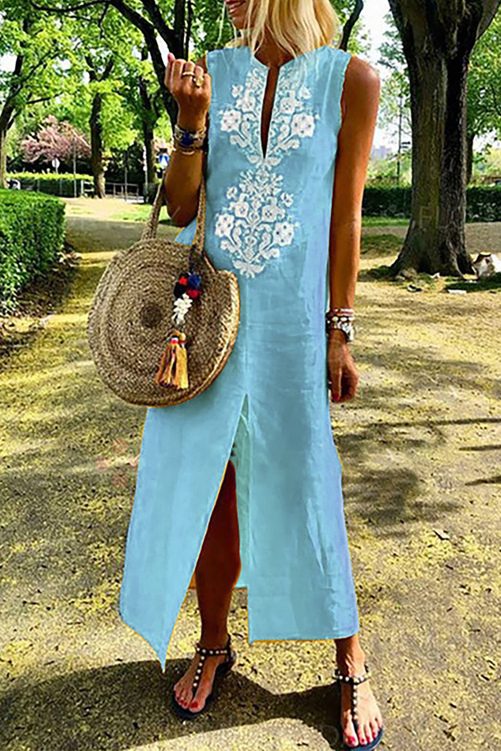 Sky Blue Sleeveless Casual Slit Geometric Summer Dress