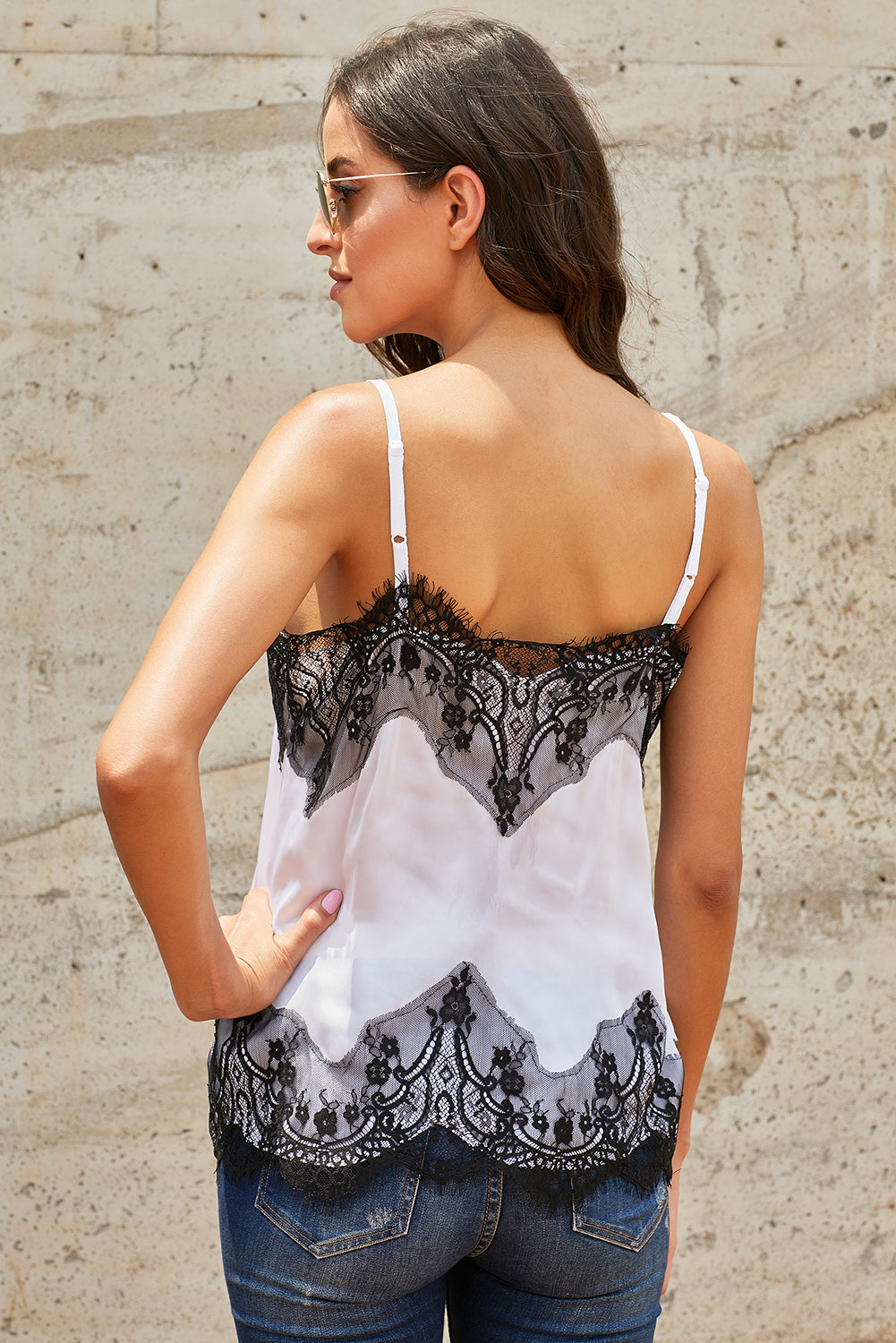 White Adjustable Lace Cami Tank