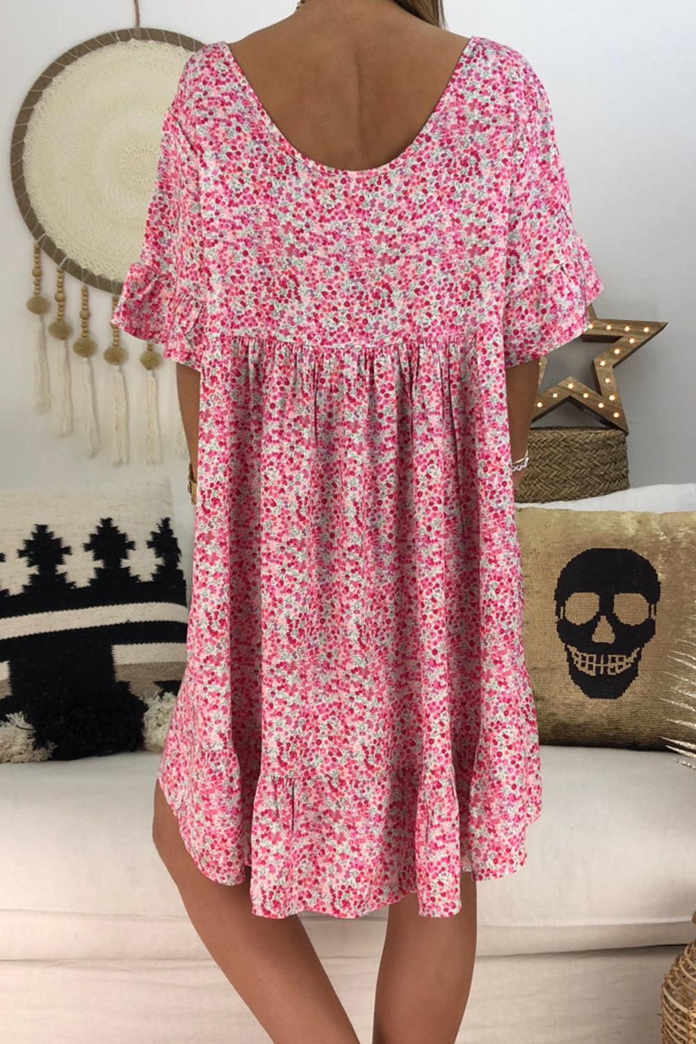 Rose Loose Scoop Neck Floral Dress