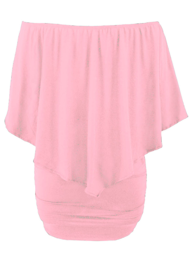Plus Size Multiple Dressing Layered Pink Mini Poncho Dress