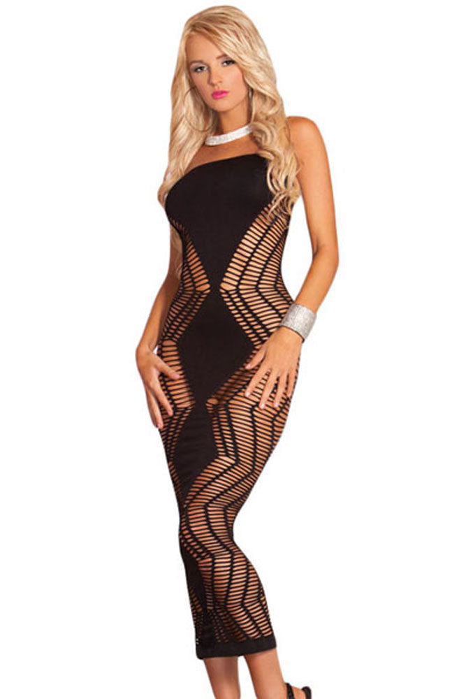 Zig Zag Shred Seamless Long Dress
