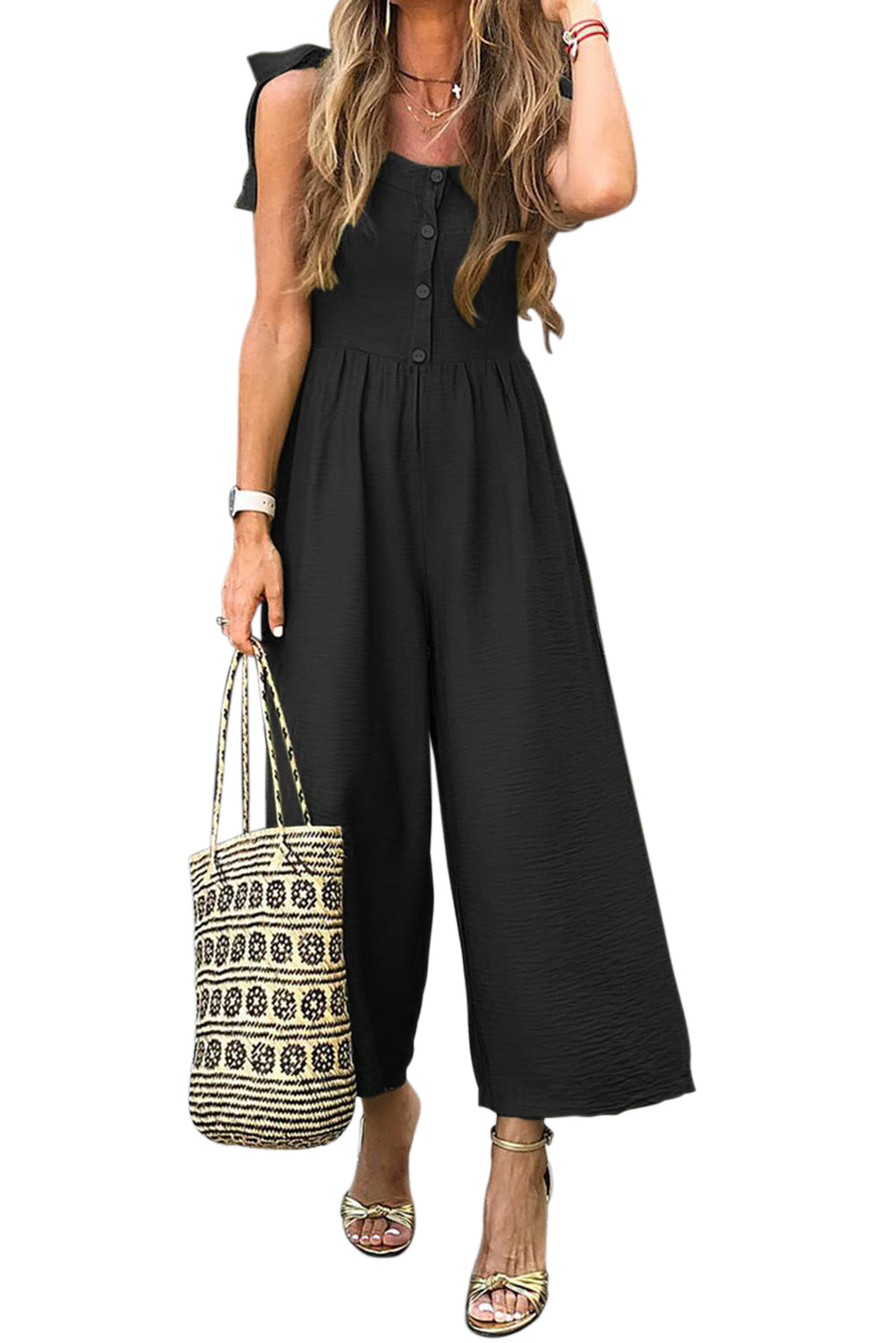 Black Button Down Sleeveless Wide Leg Jumpsuit