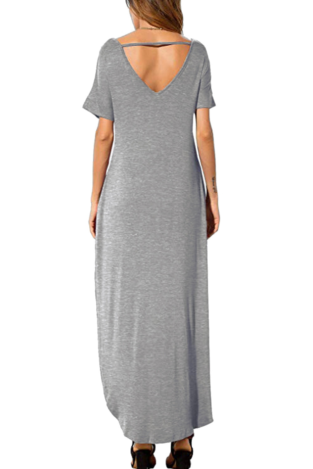 Gray Lace Front Pocket Short Sleeve Split Casual Loose Maxi Dress