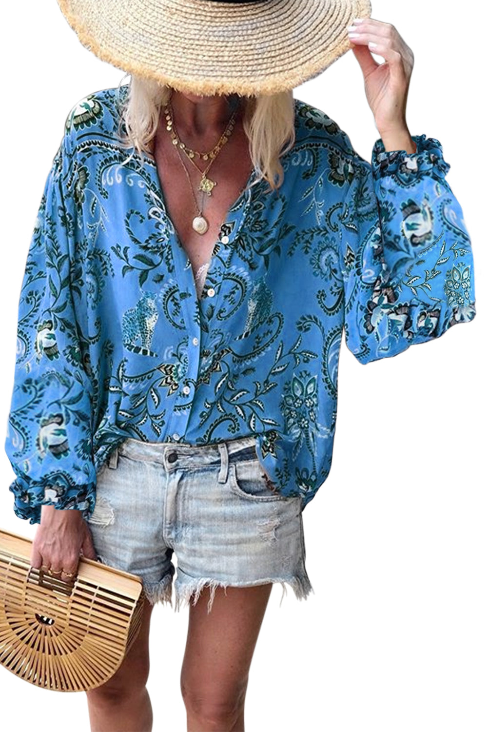 Blue Boho Button Down V Neck Floral Print Shirt