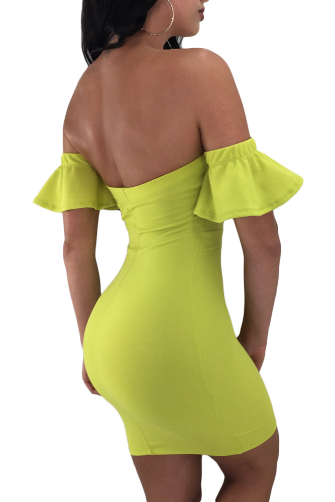 Lime Flared Short Sleeves Tie Front Bodycon Dress