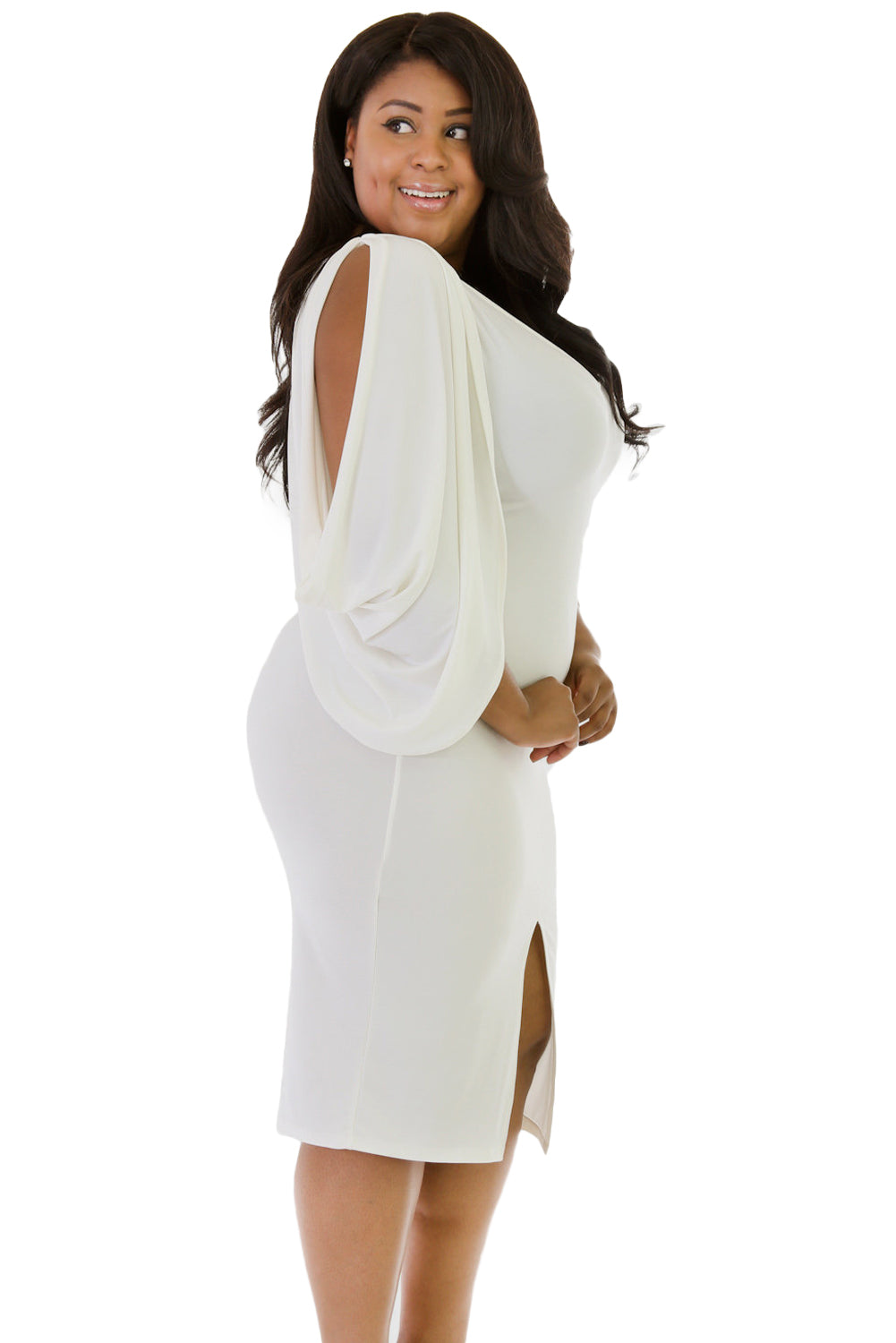 White Cascading Slit Sleeve Bodycon Plus Size Dress