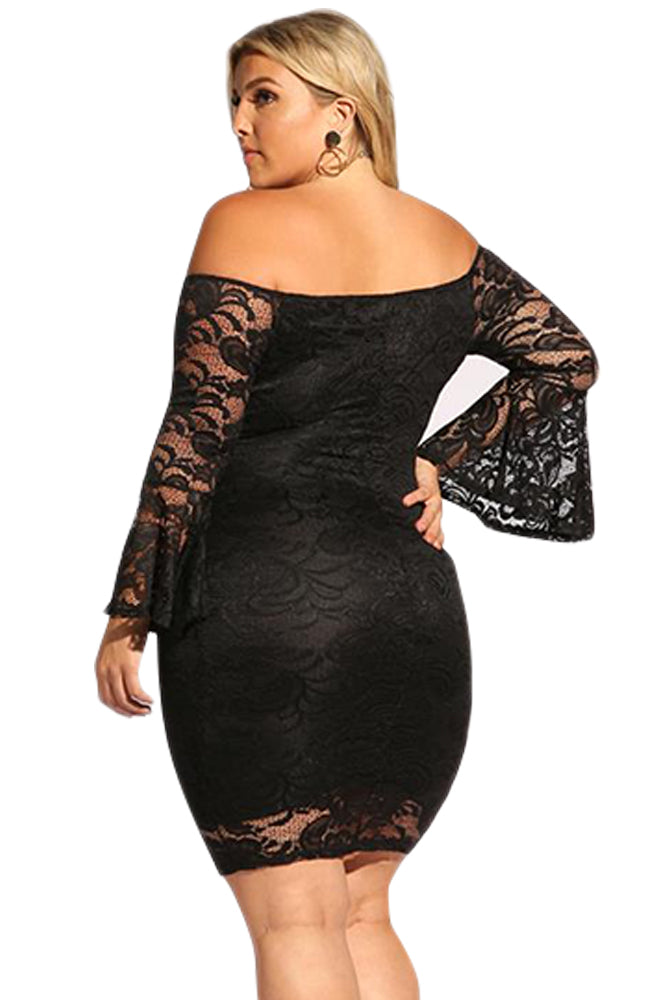 Black Plus Size Lace Bell Sleeve Bodycon Dress