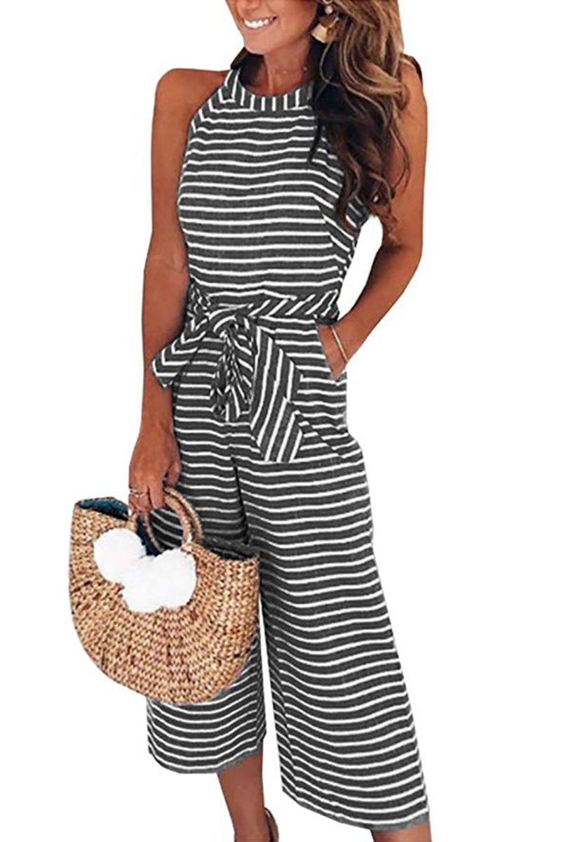 Black Striped Sleeveless Waist Belted Wide Leg Loose Jumpsuit