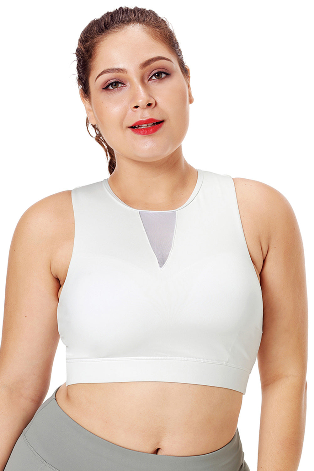 White Mesh Insert High Neck Plus Size Sport Bra