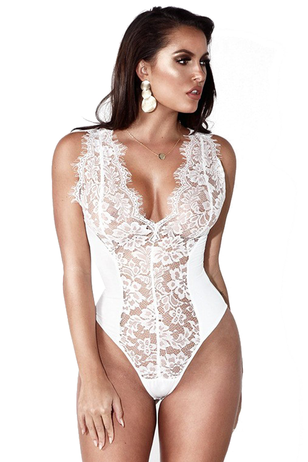 White Sexy Lace Splicing Deep V Neck Sleeveless Bodysuit
