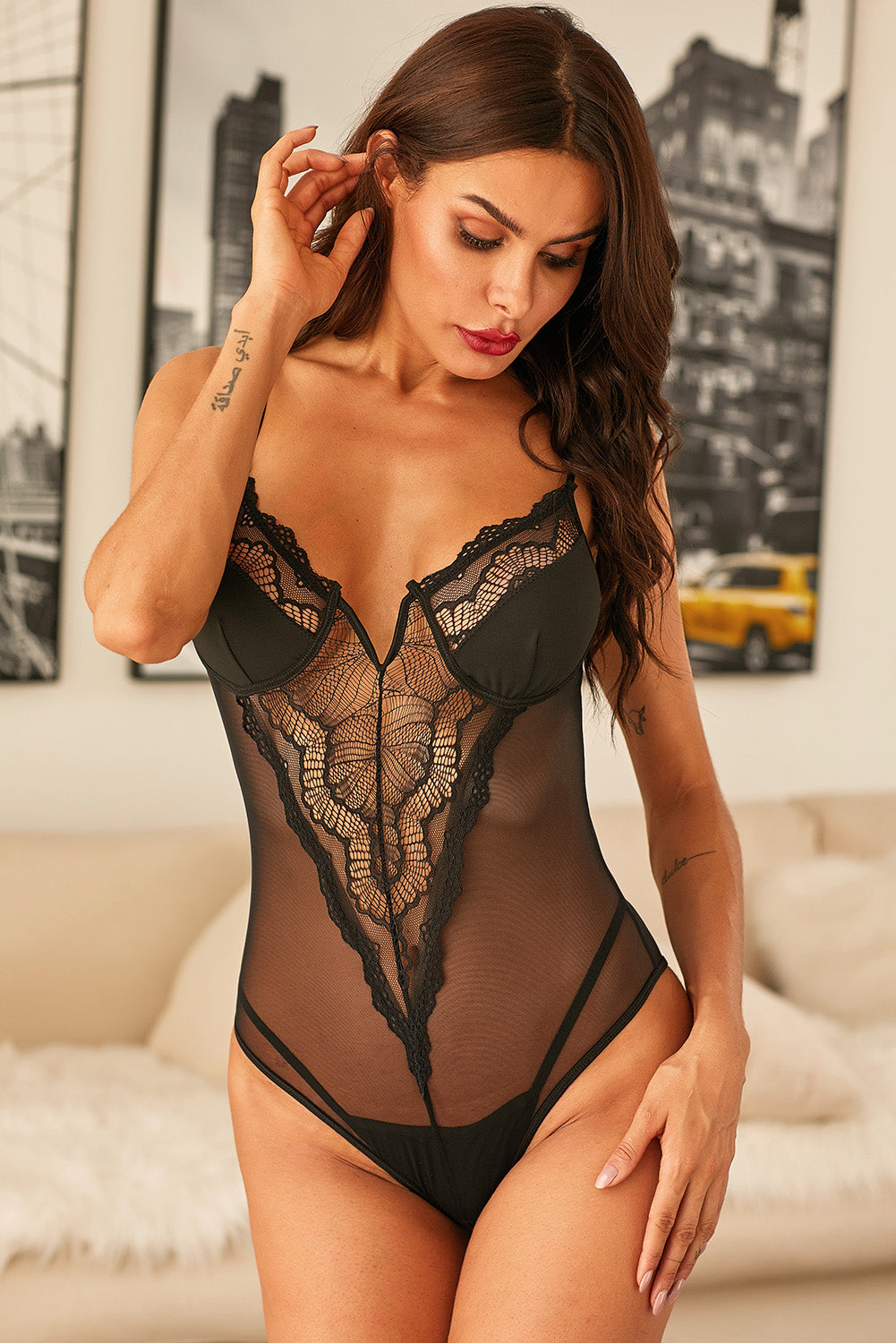 Black Satin Cups Floral Lace Accent Bodysuit