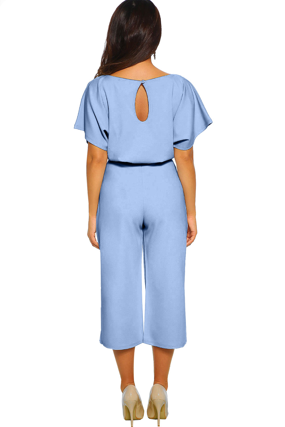 Sky Blue Always Chic Belted Culotte Jumpsuit
