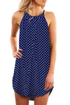 Dot Print Blue Sleeveless Dress