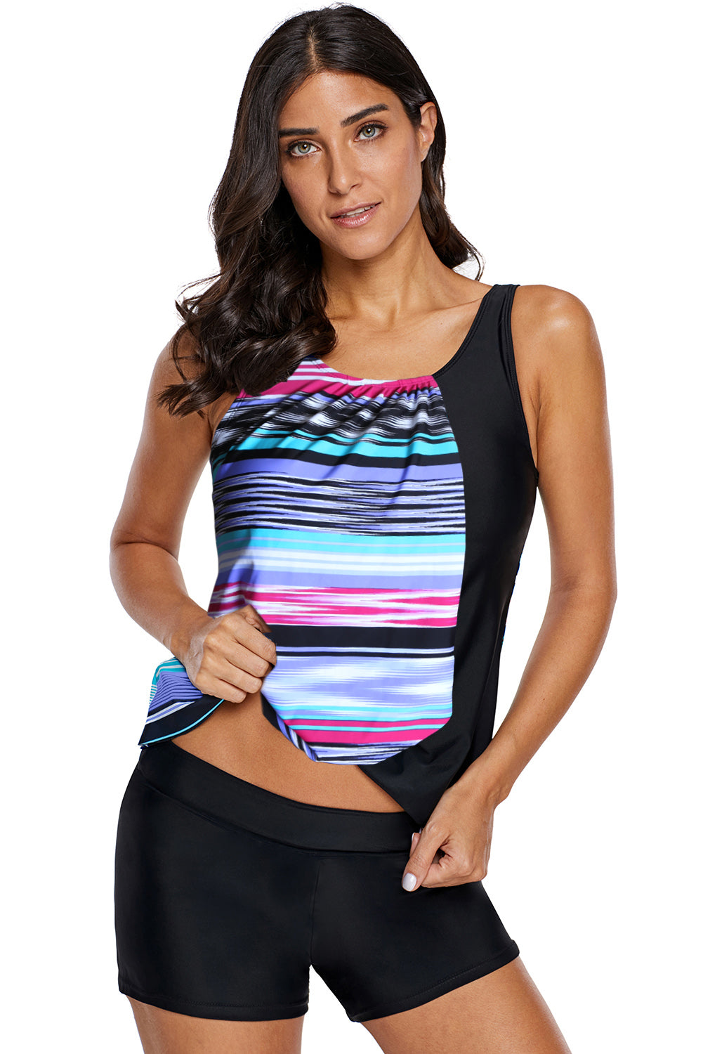 Multicolor Asymmetric Striped Splice Tank Top Swimwear
