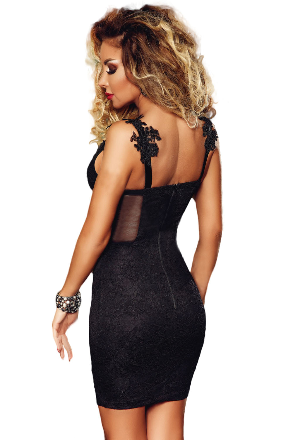Black Lace Applique Sweetheart Neck Bodycon Dress