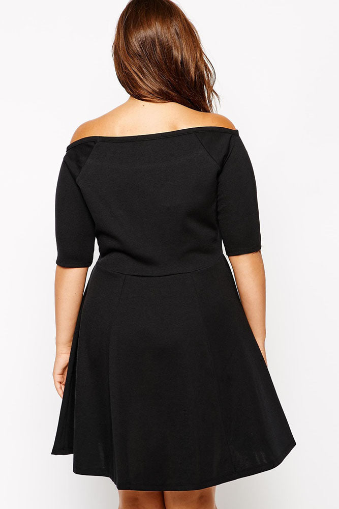 Boat Neck Fleshy Black Skater Dress