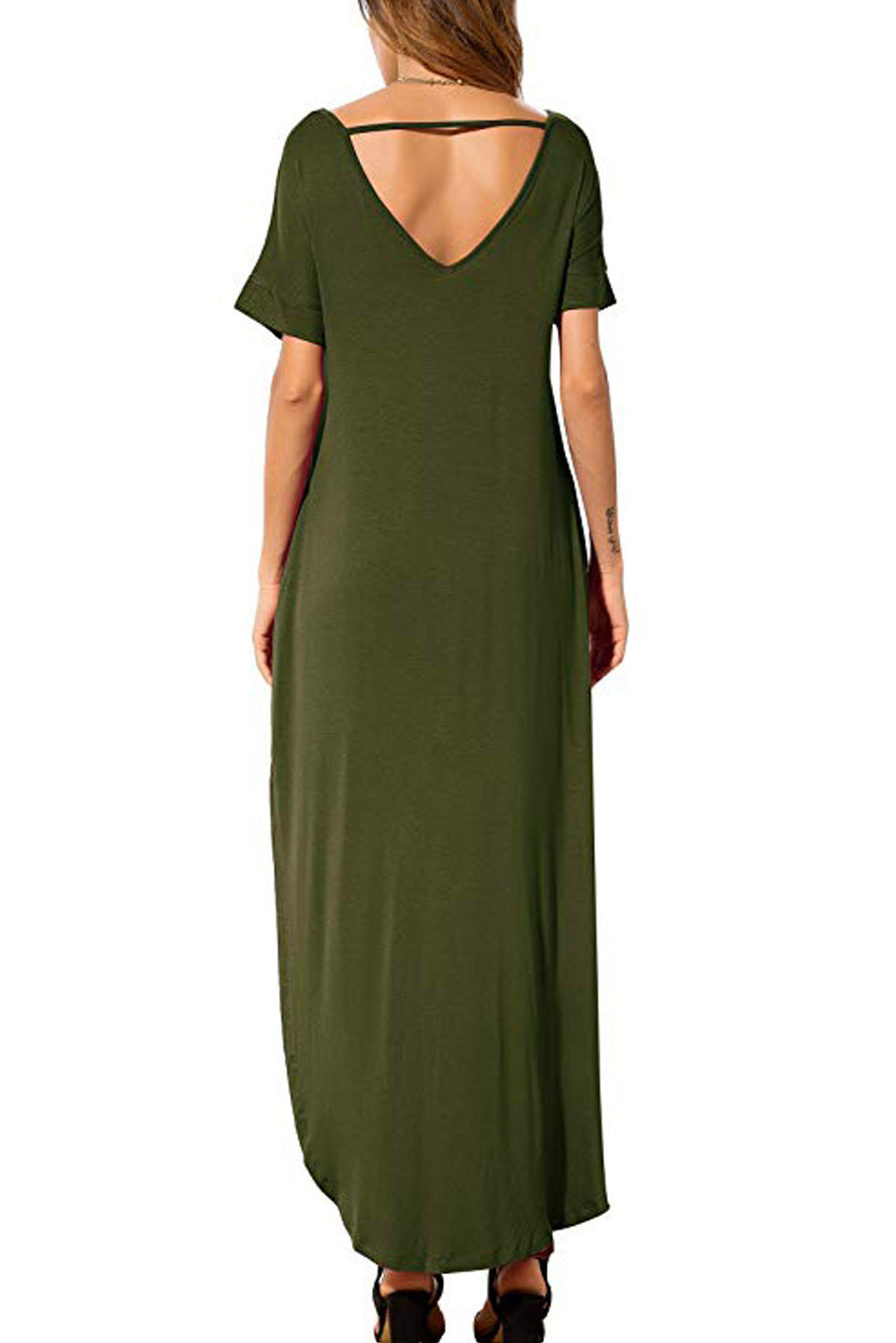 Green Lace Front Pocket Short Sleeve Split Casual Loose Maxi Dress