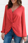 Red Long Sleeve Twist Front Slit Blouse