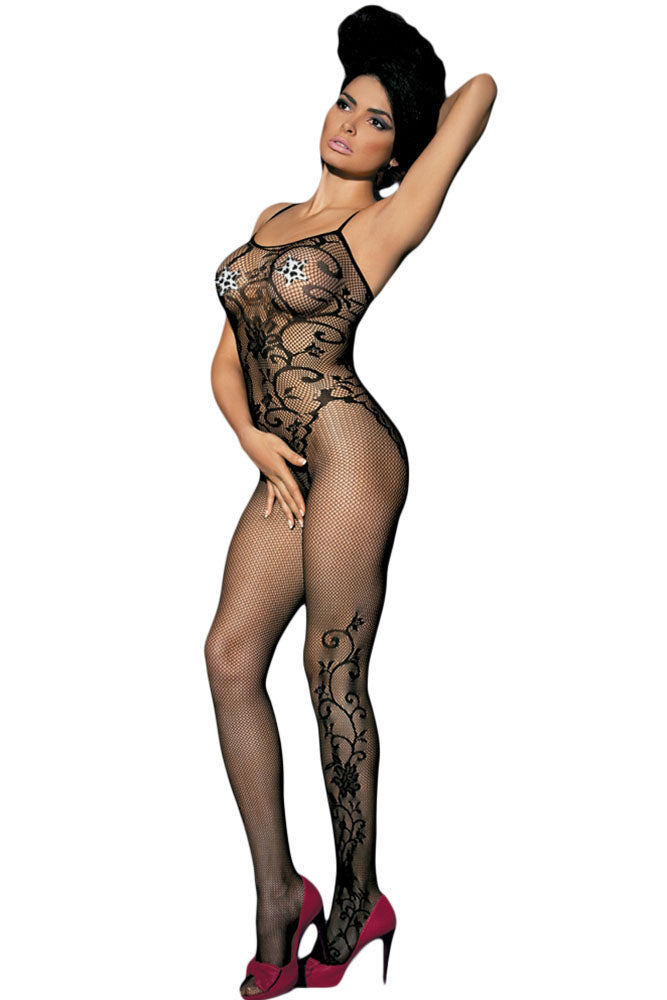 Sleeveless Floral Tattoo Body Stocking