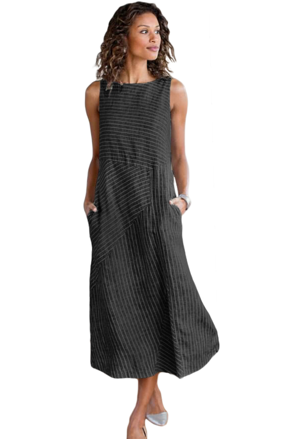 Black Crew Neck Striped Shift Daily Dress