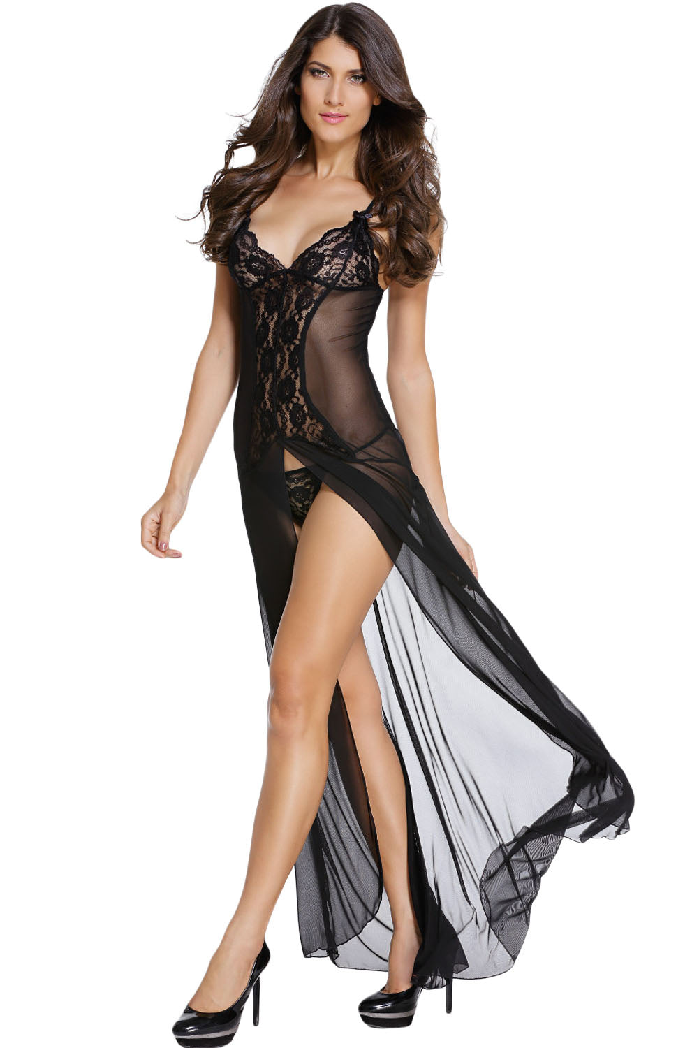 Bride to Be Black Sleepwear Gown