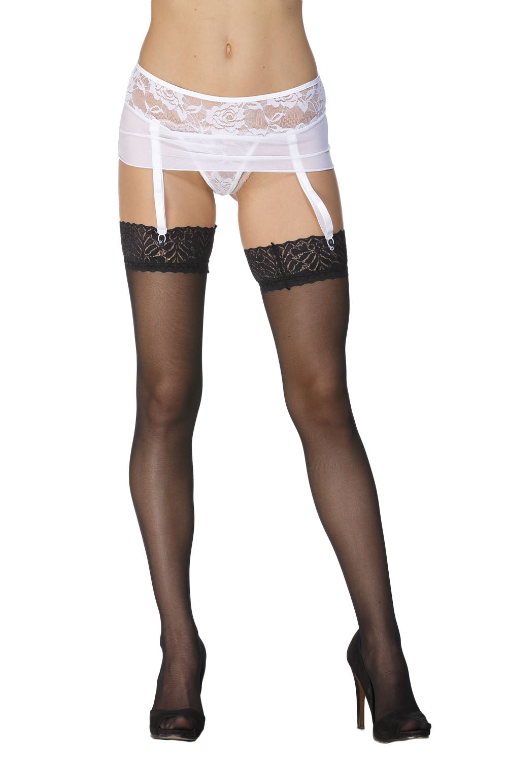 White Lace Mesh Garters With G-String