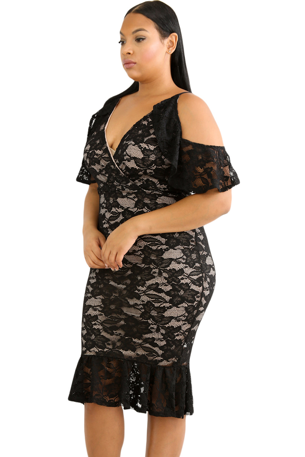 Black Plus Size Cold Shoulder Lace Bodycon Dress