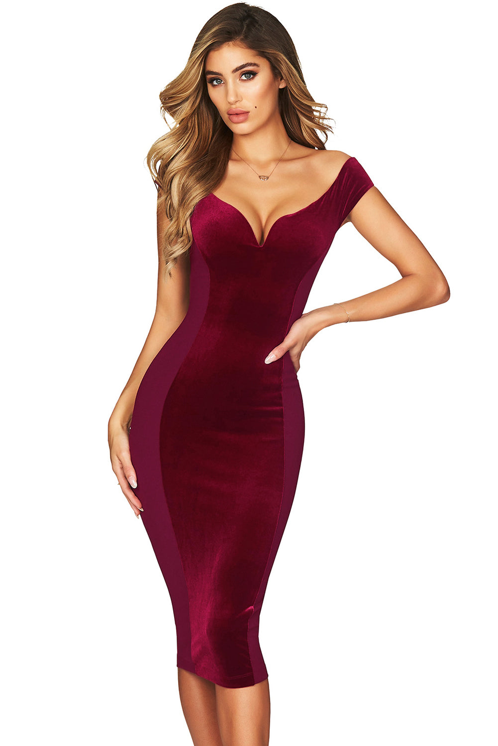 Show Hourglass Figure Burgundy Off Shoulder Dress