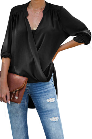 Black Elbow Length Sleeves Front Embroidery Blouse
