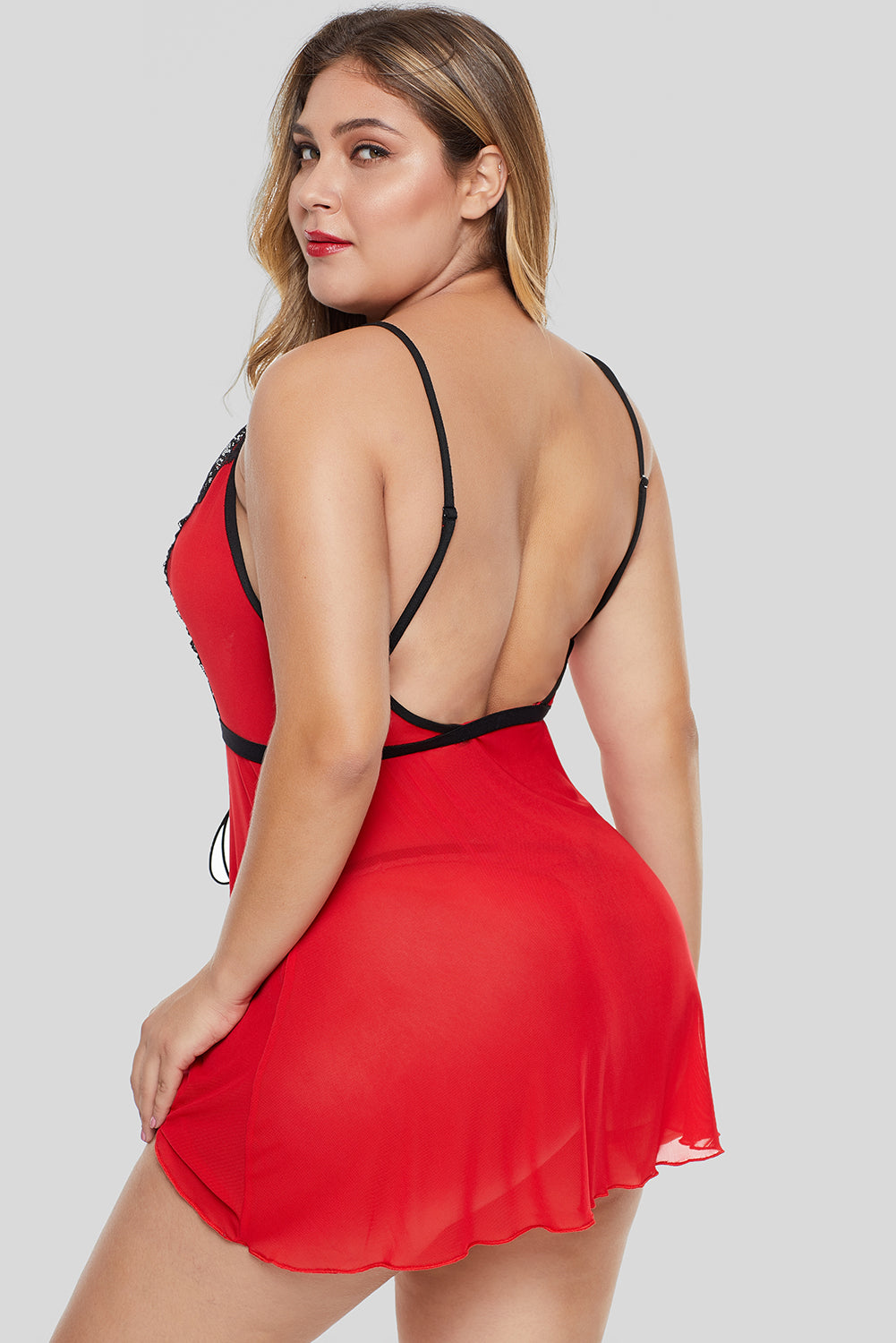 Red Lace-up Plus Size Babydoll