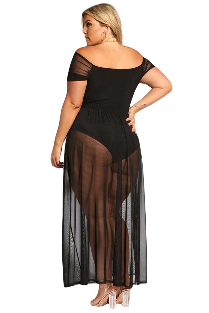 Black Sheer Allure Plus Size Bodysuit Dress