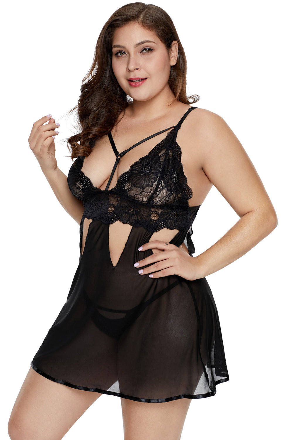0fab1dbc2 Plus Size Eye-catching Black Babydoll Set – FabWoo