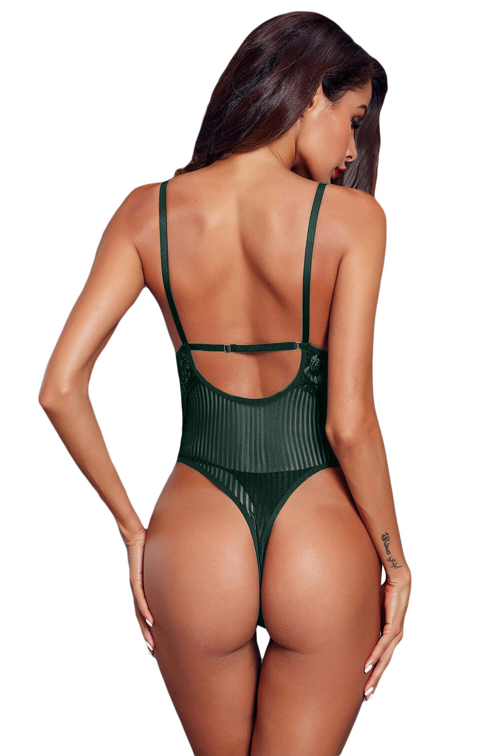 Green Striped Mesh Bodysuit