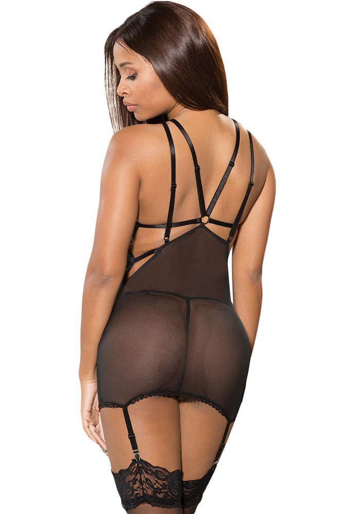 Black Sexy Curve Chemise with Garter Belt