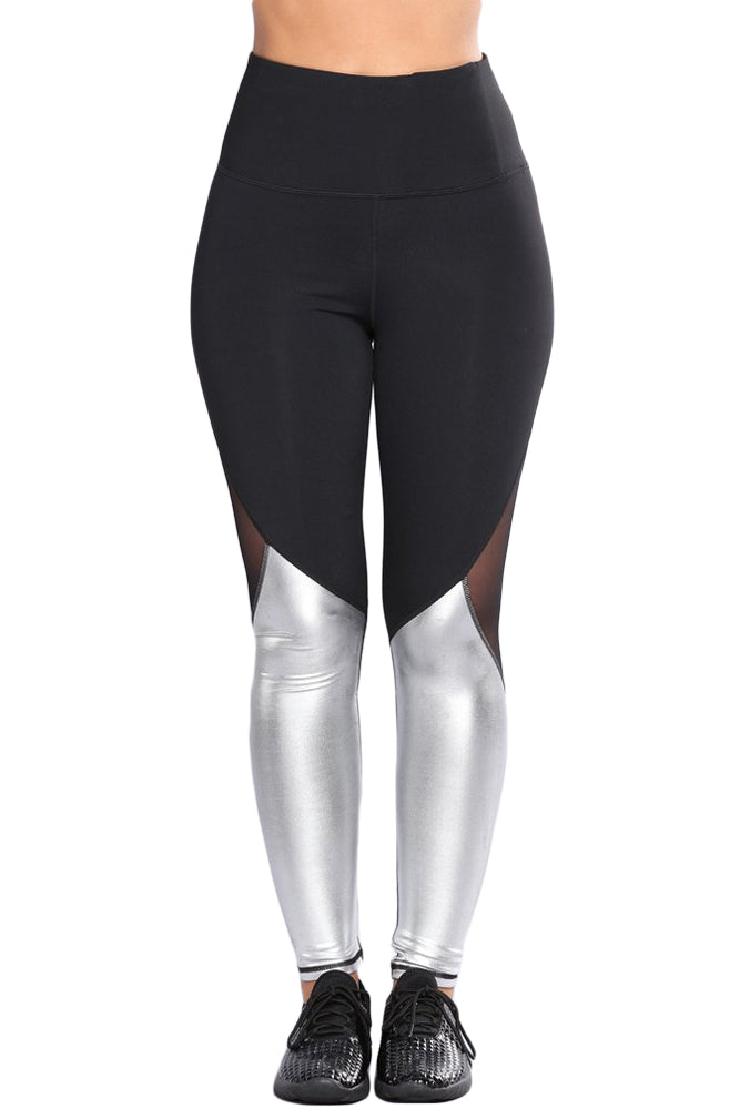 Silver Metallic Bottom Detail Active Stretch Leggings