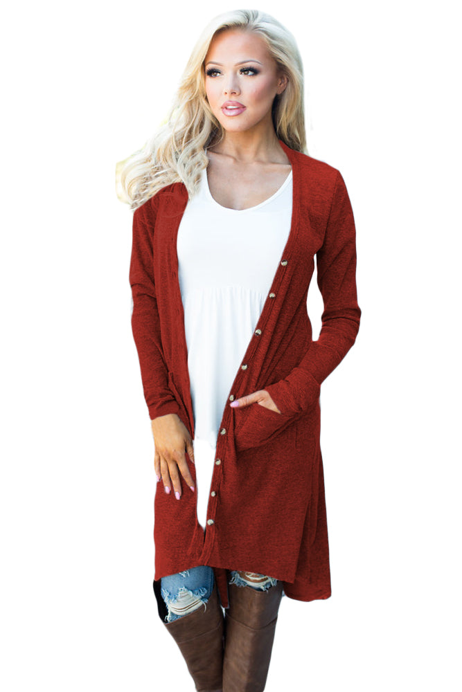 Wine Ribbed Hi Low Long Cardigan with Pockets
