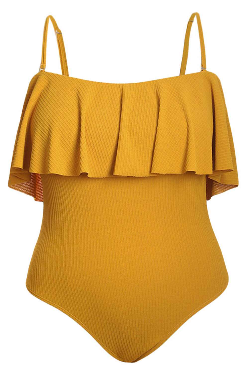 Romantic Ruffle Overlay Sling One-piece Swimsuit