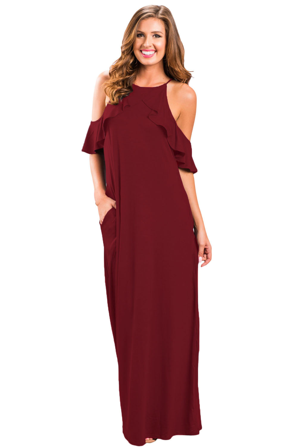 Wine Ruffle Sleeve Cold Shoulder Maxi Dress