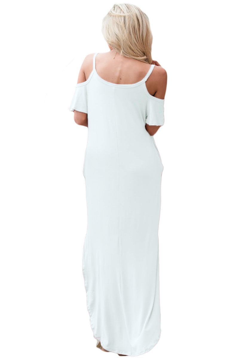White Sassy Open Shoulder Maxi Dress