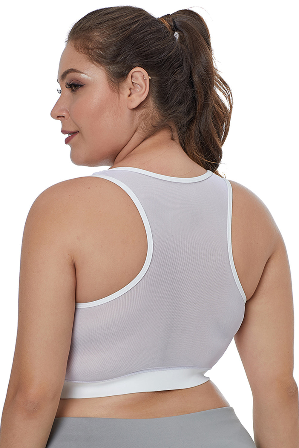 White Sheer Mesh Back Plus Size Sports Bra