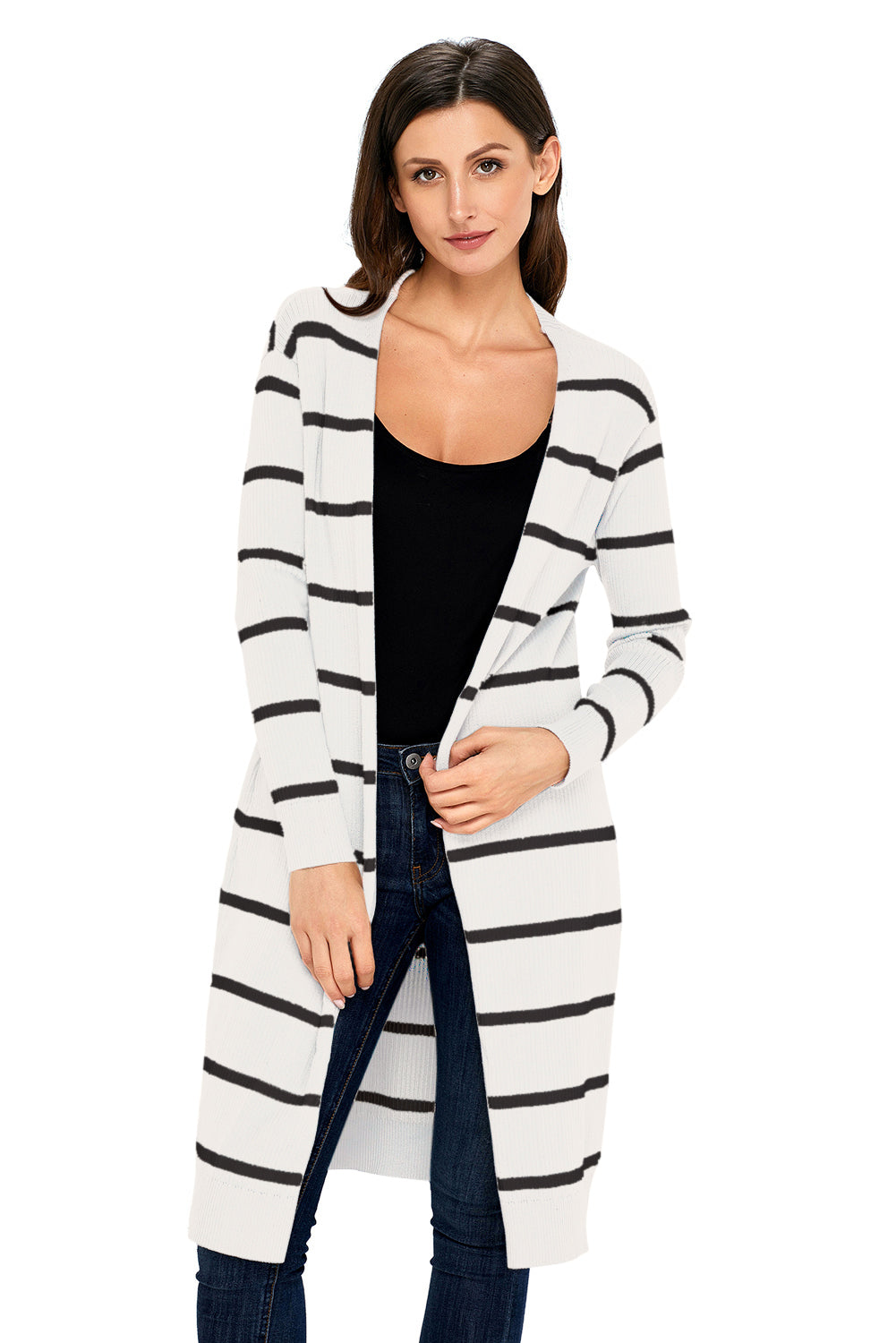 White Striped Ribbed Cardigan