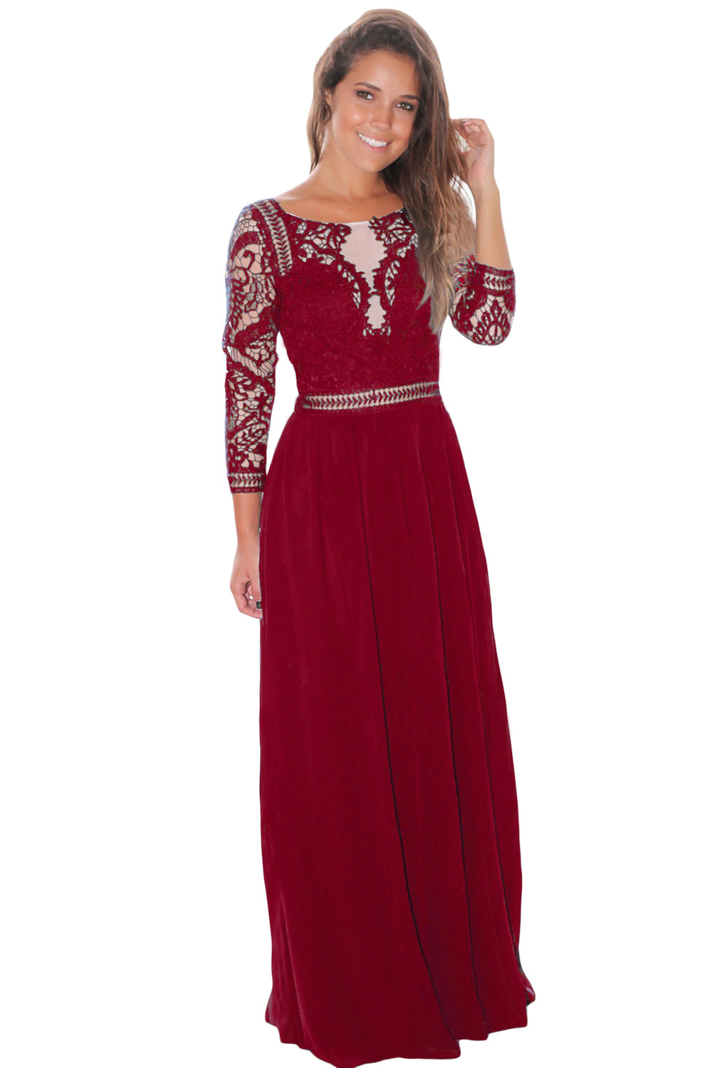 5f47c6d21 Wine Lace Crochet Quarter Sleeve Maxi Dress – FabWoo