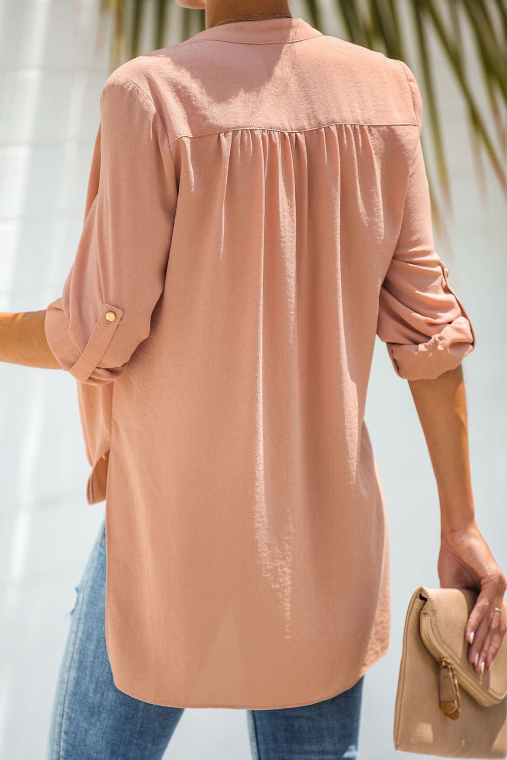 Pink Get You Covered Drape Front Layered Blouse