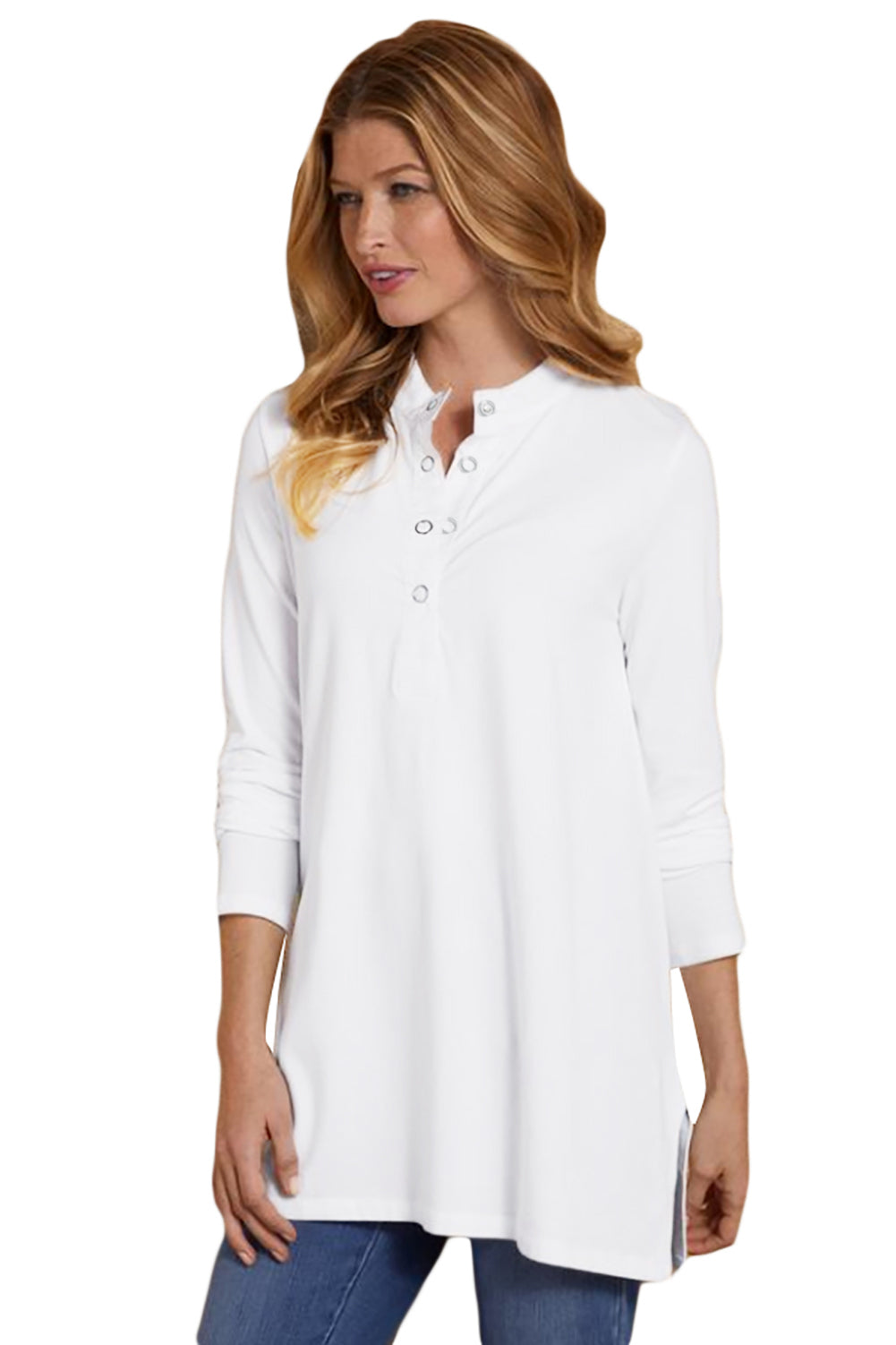 White Snap Button Neck Long Sleeve Tunic