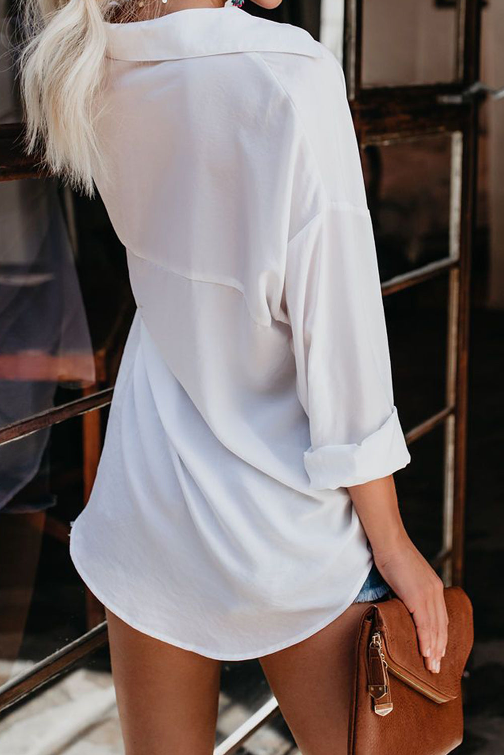 White Satin Utility Blouse