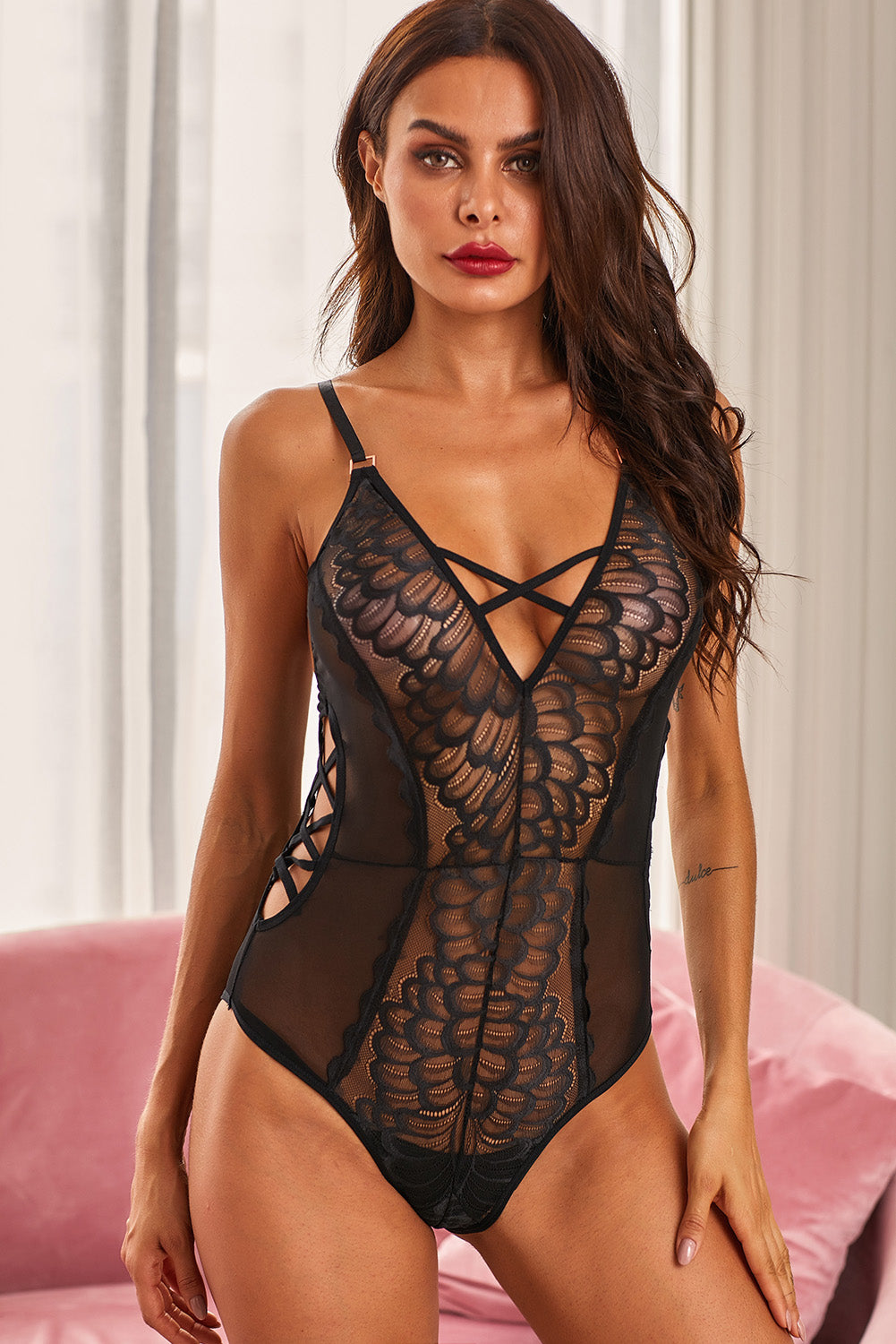 Black Front Lace Criss Cross Hollow-out Bodysuit