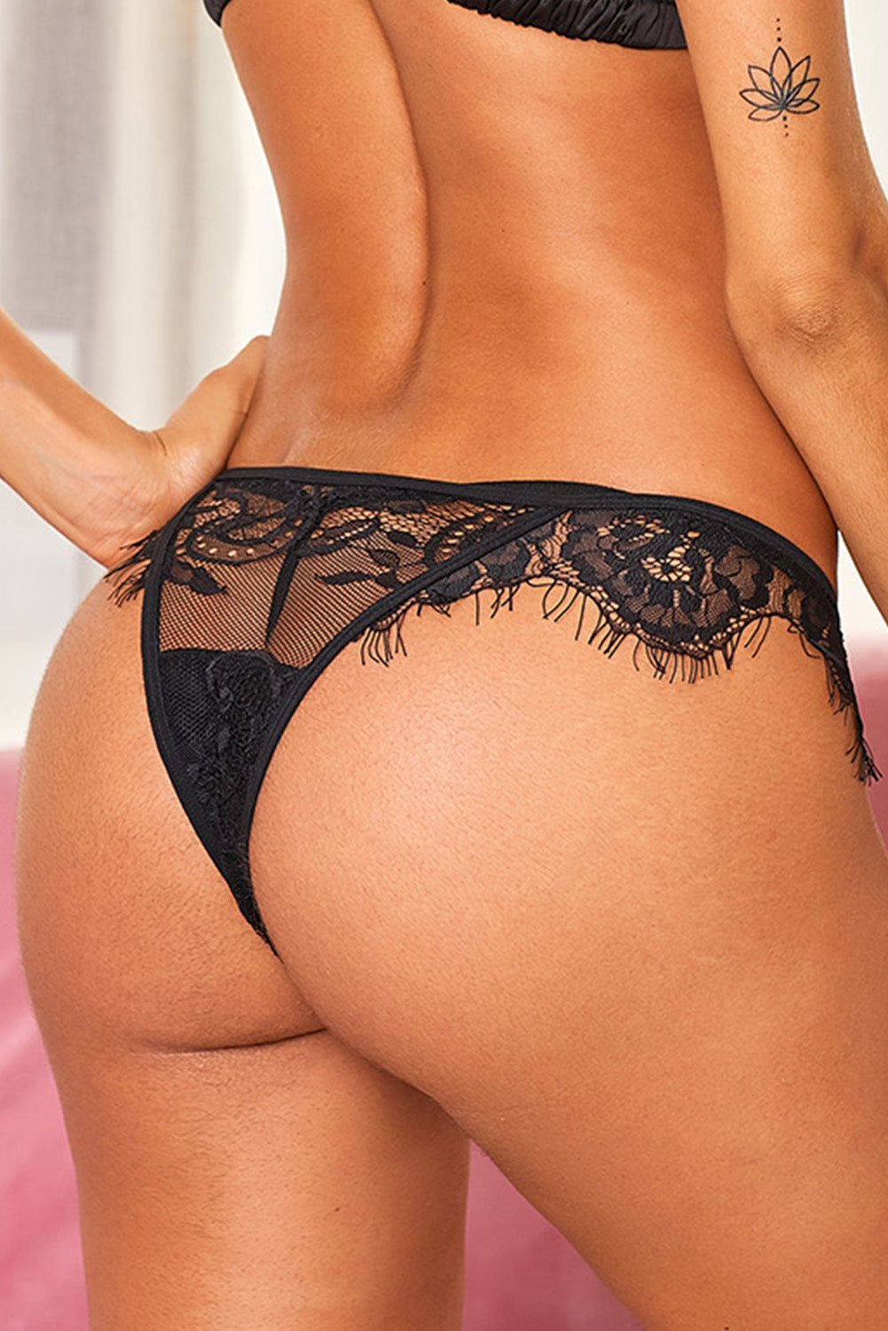 Black Eyelash Trim Lace Mesh Thong